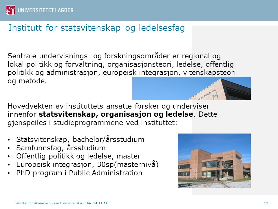 Institutt for statsvitenskap og ledelsesfag