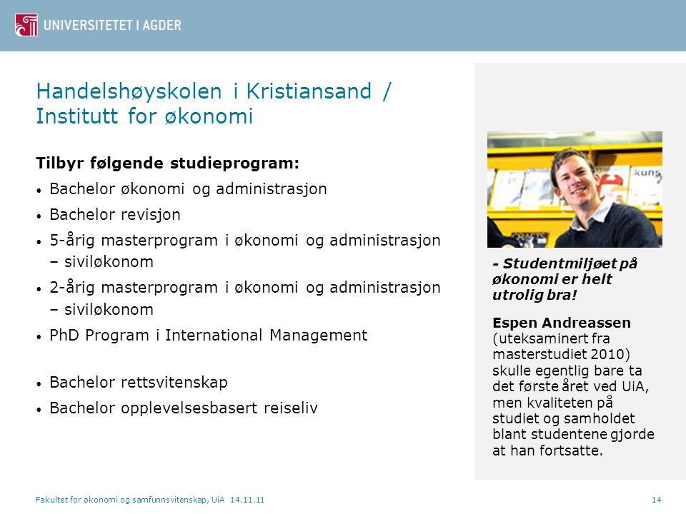 Handelshøyskolen i Kristiansand / Institutt for økonomi