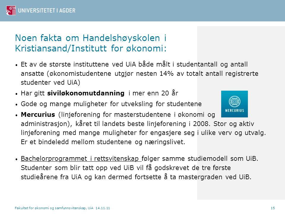 Noen fakta om Handelshøyskolen i Kristiansand/Institutt for økonomi: