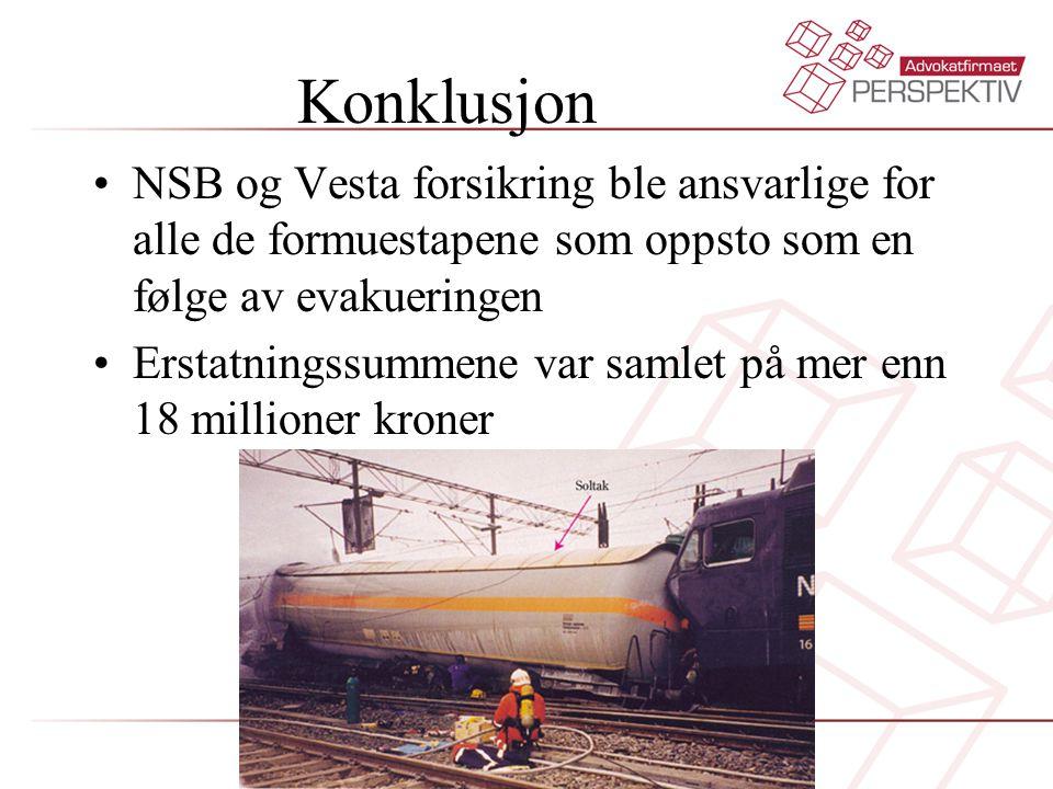Konklusjon NSB og Vesta forsikring ble ansvarlige for alle de formuestapene som oppsto som en følge av evakueringen.