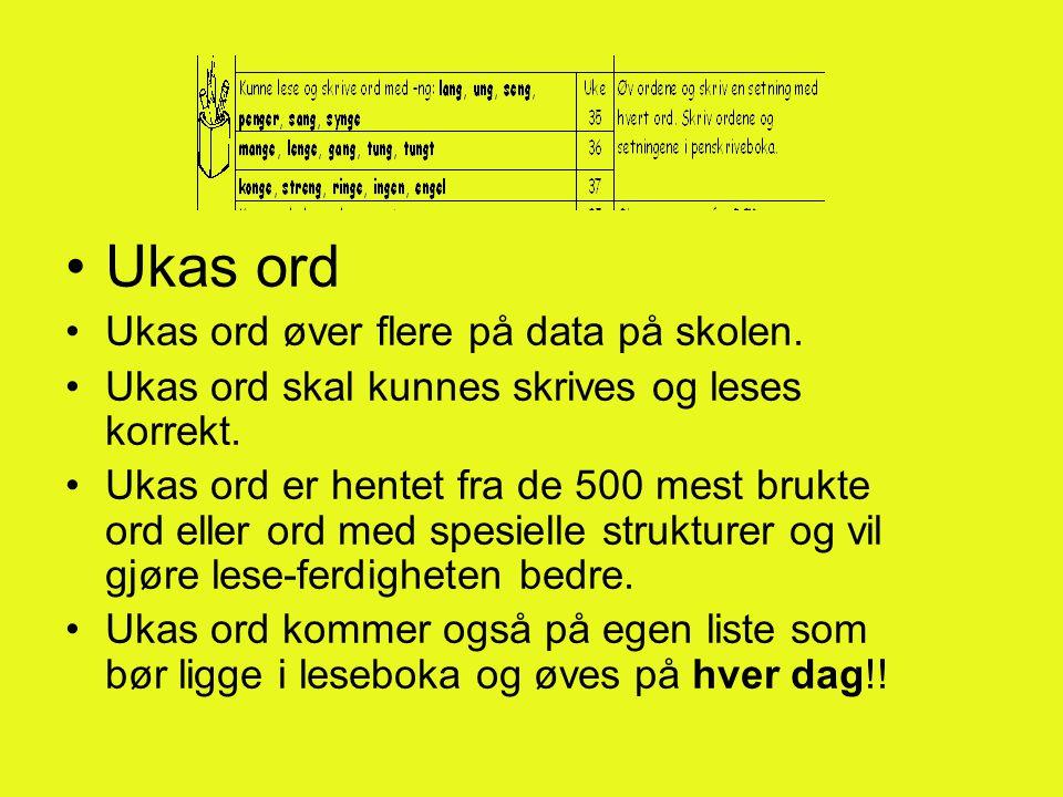Ukas ord Ukas ord øver flere på data på skolen.