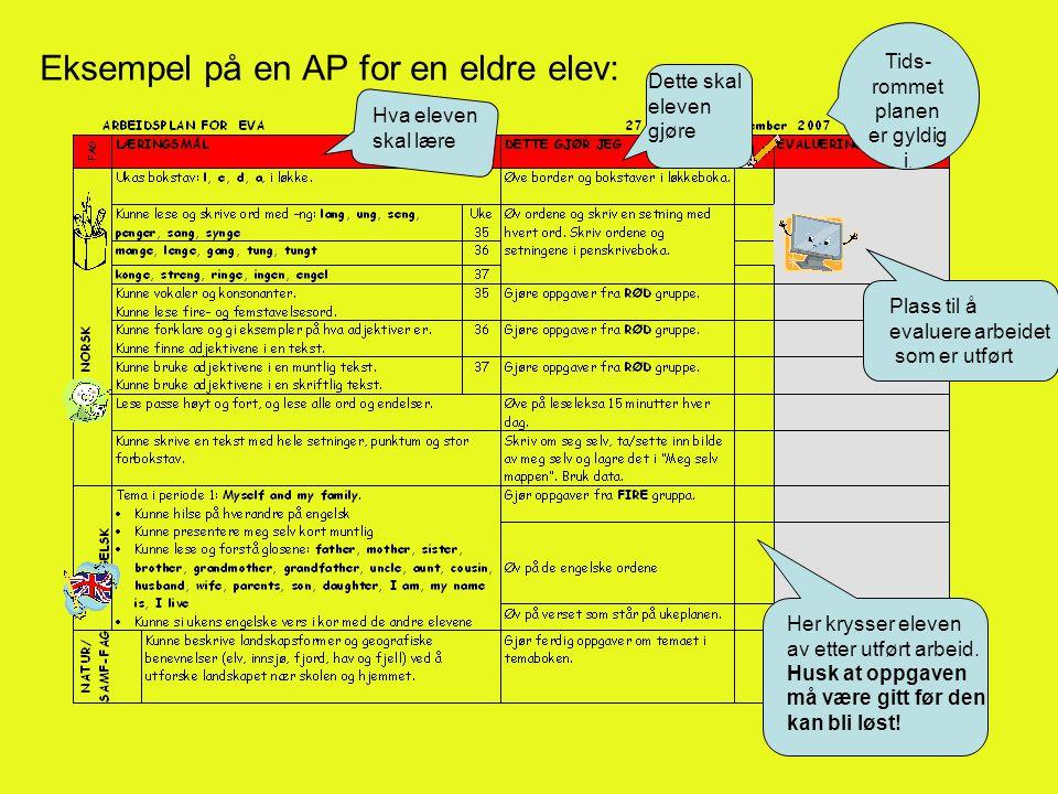 Eksempel på en AP for en eldre elev: