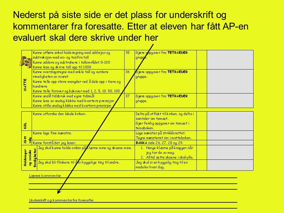 Nederst på siste side er det plass for underskrift og kommentarer fra foresatte.