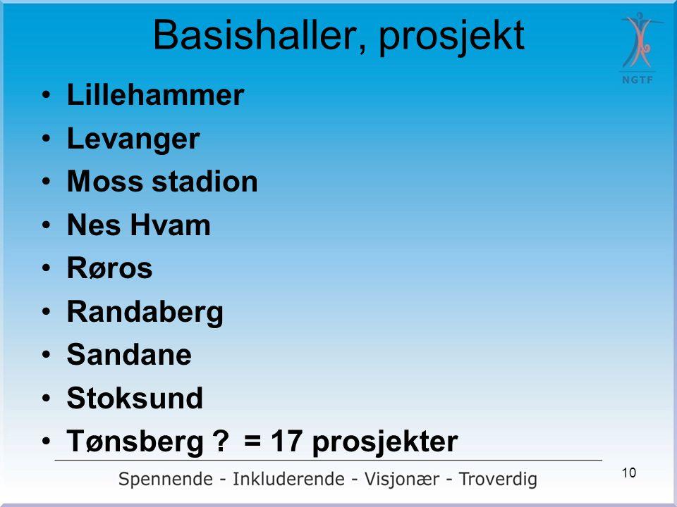 Basishaller, prosjekt Lillehammer Levanger Moss stadion Nes Hvam Røros