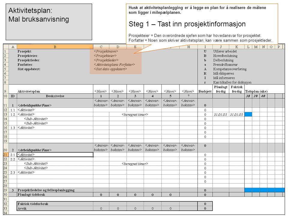 Steg 1 – Tast inn prosjektinformasjon