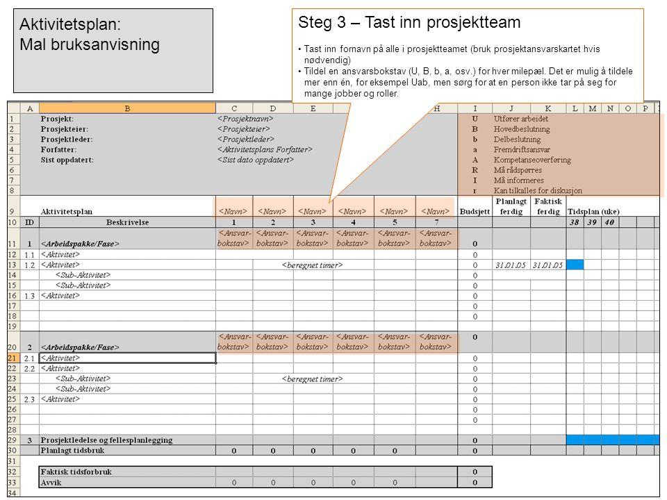 Steg 3 – Tast inn prosjektteam