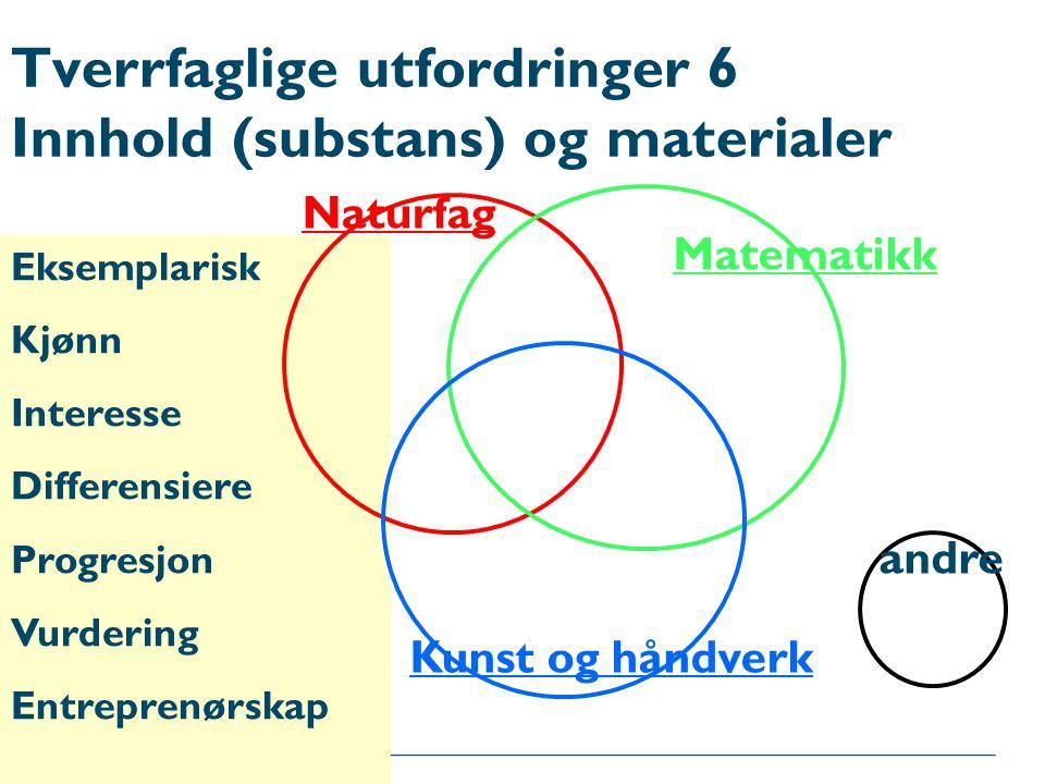 Tverrfaglige utfordringer 6 Innhold (substans) og materialer