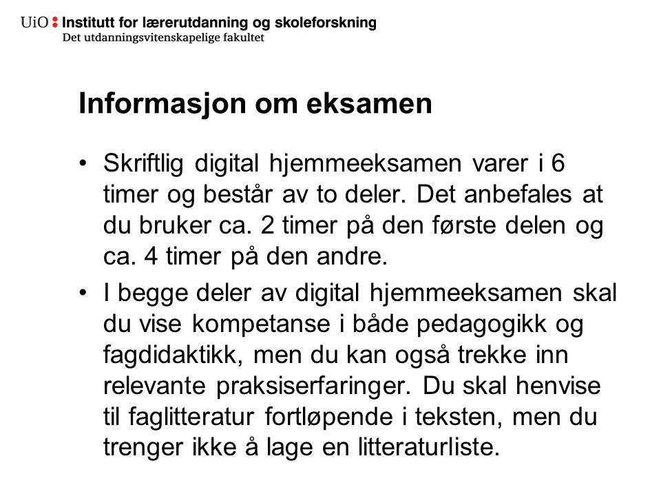 Informasjon om eksamen