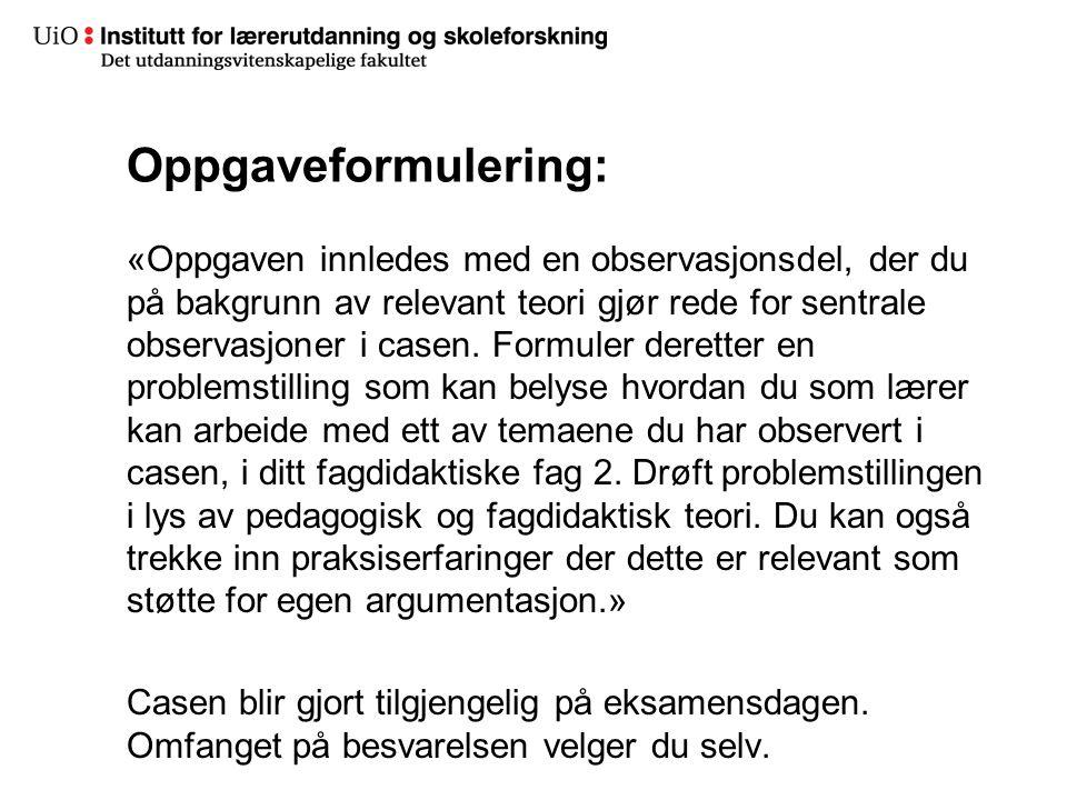 Oppgaveformulering:
