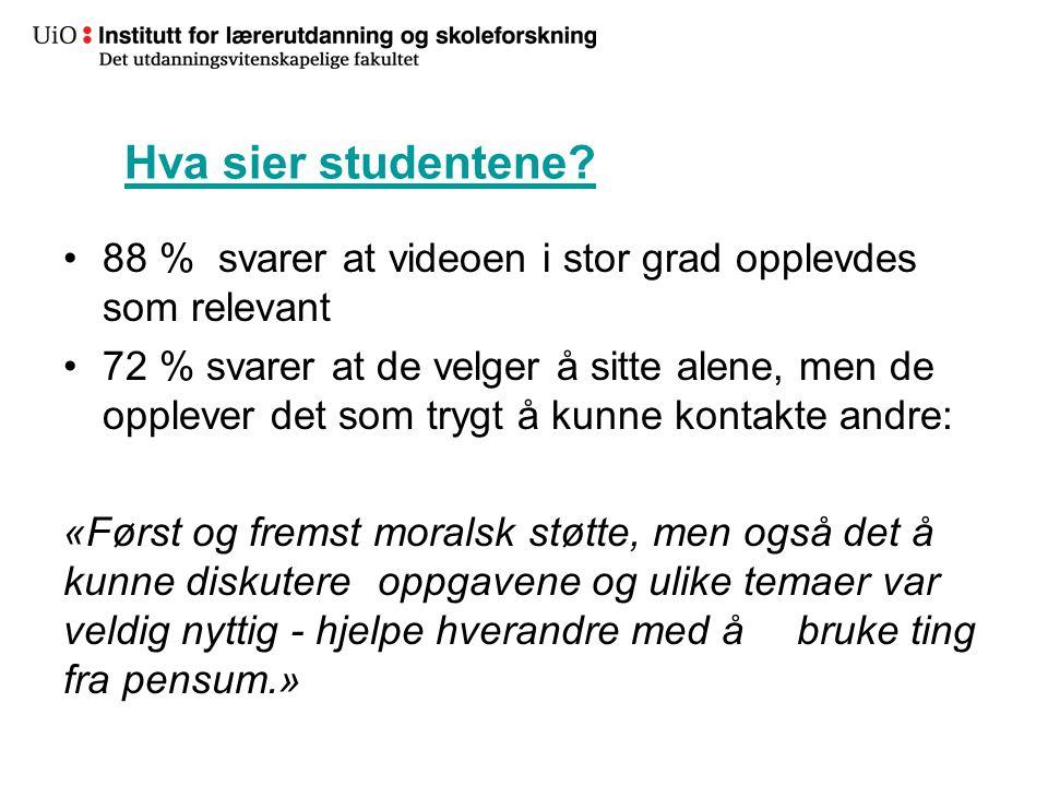 Hva sier studentene 88 % svarer at videoen i stor grad opplevdes som relevant.
