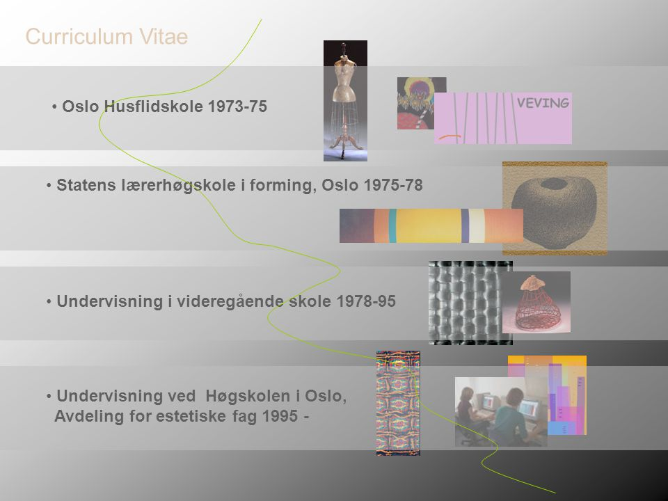 Curriculum Vitae Oslo Husflidskole 1973-75