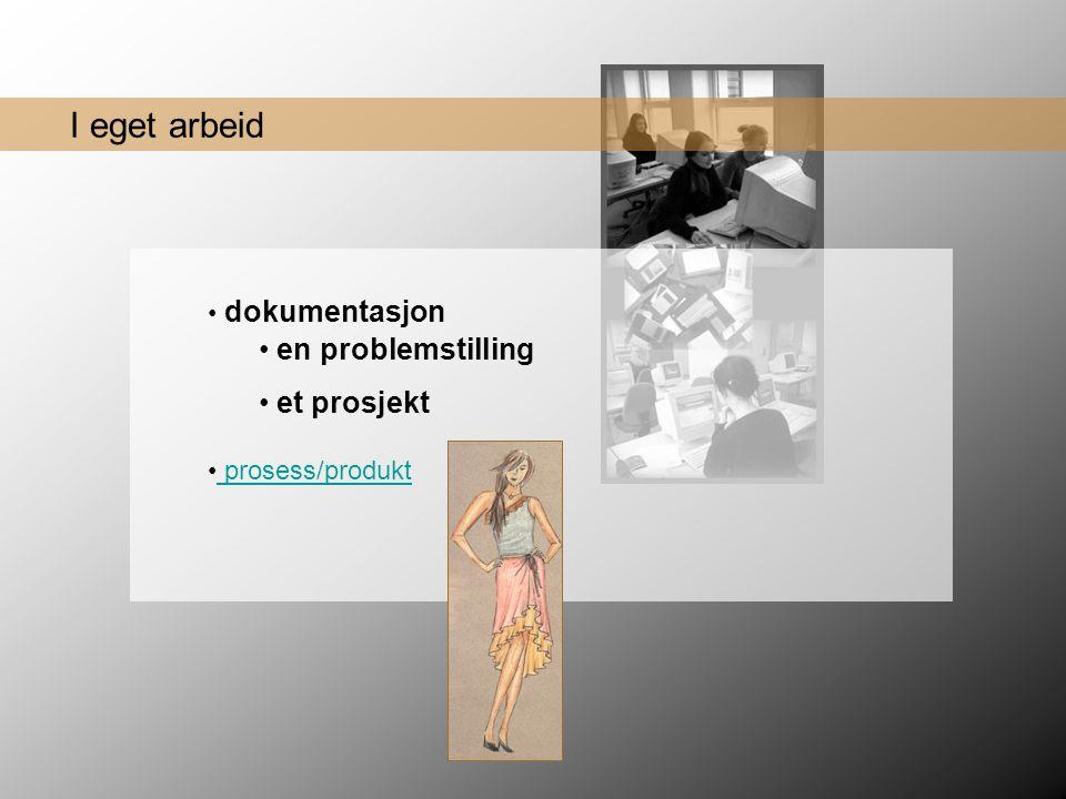 en problemstilling et prosjekt I eget arbeid dokumentasjon