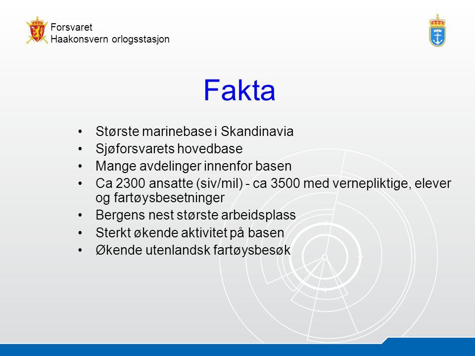 Fakta Største marinebase i Skandinavia Sjøforsvarets hovedbase