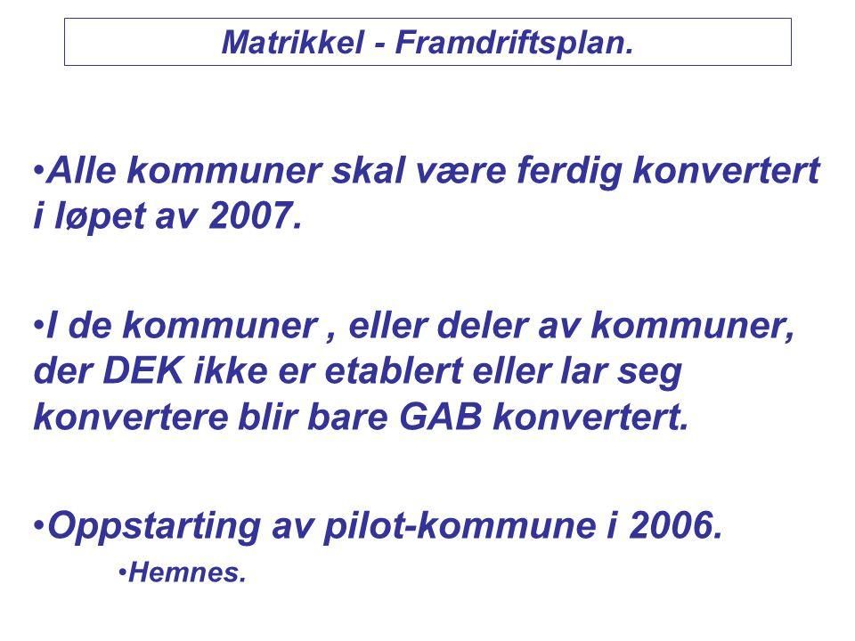 Matrikkel - Framdriftsplan.