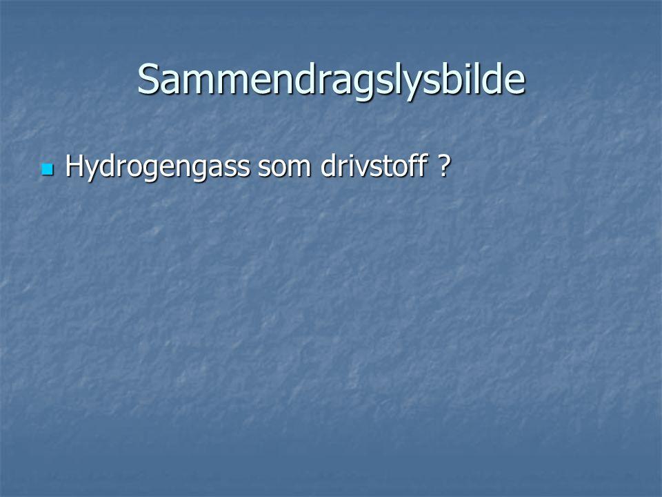 Sammendragslysbilde Hydrogengass som drivstoff