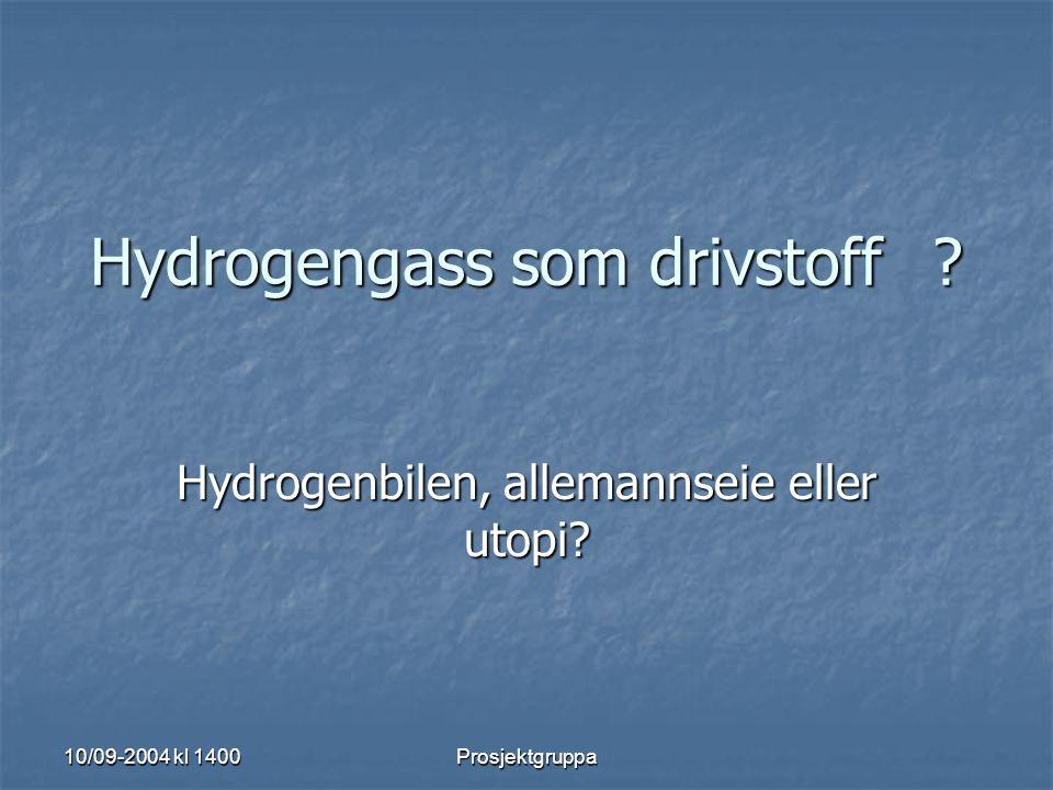 Hydrogengass som drivstoff