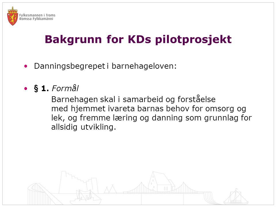 Bakgrunn for KDs pilotprosjekt