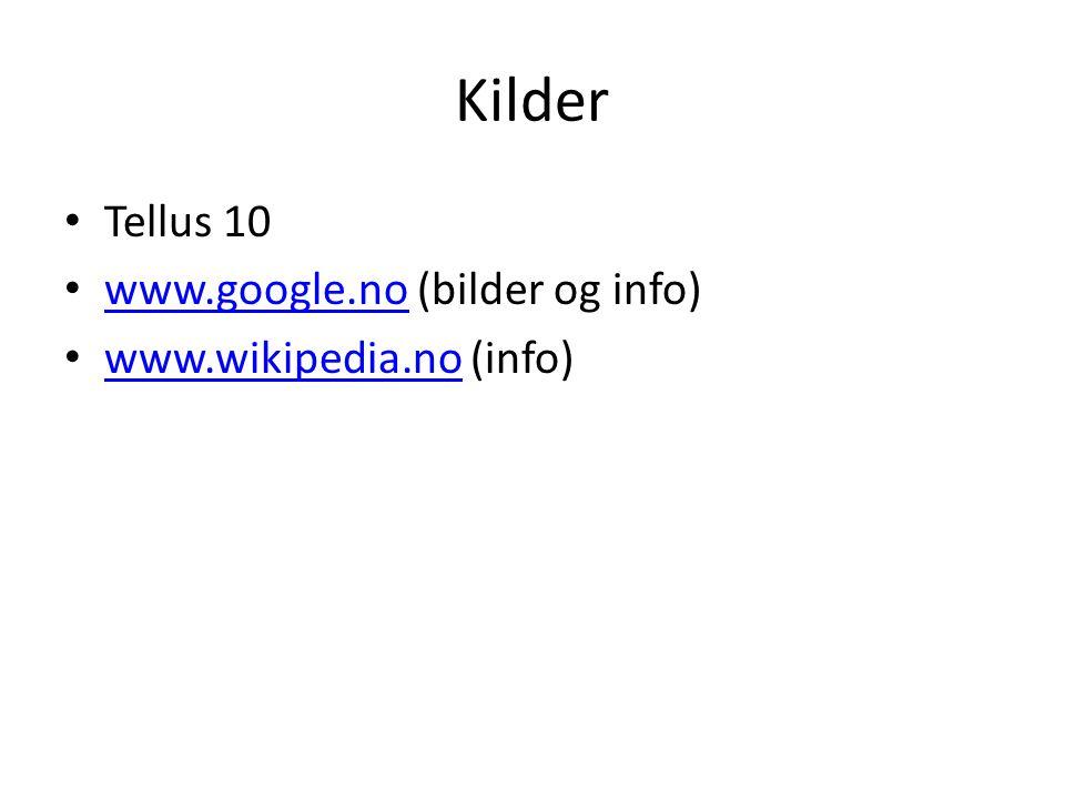 Kilder Tellus 10 www.google.no (bilder og info)