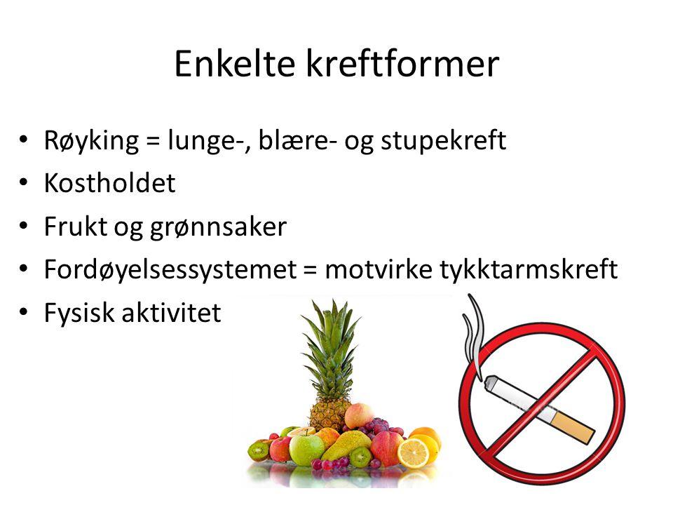 Enkelte kreftformer Røyking = lunge-, blære- og stupekreft Kostholdet