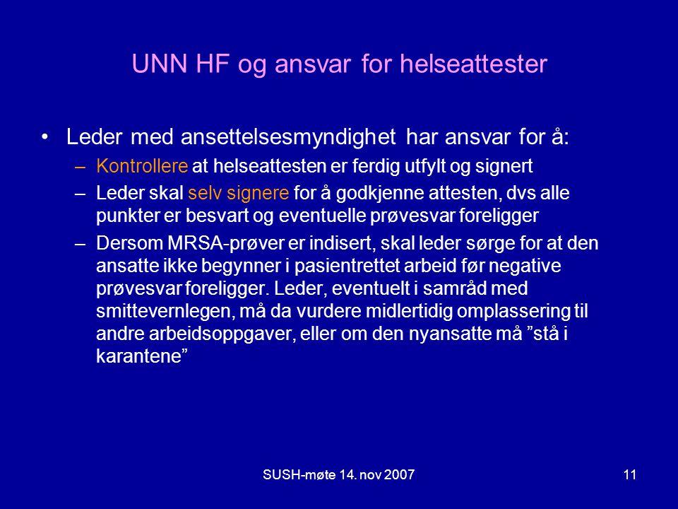 UNN HF og ansvar for helseattester