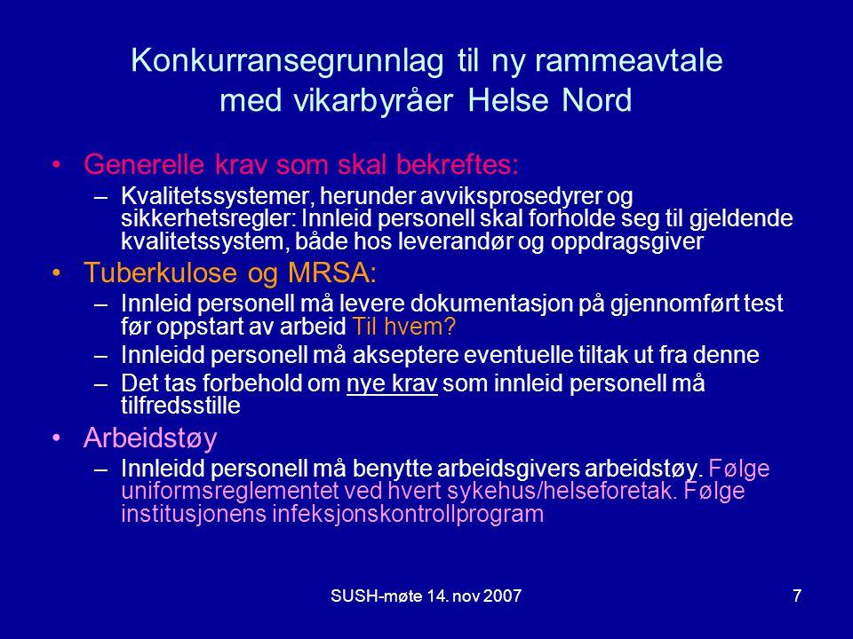 Konkurransegrunnlag til ny rammeavtale med vikarbyråer Helse Nord