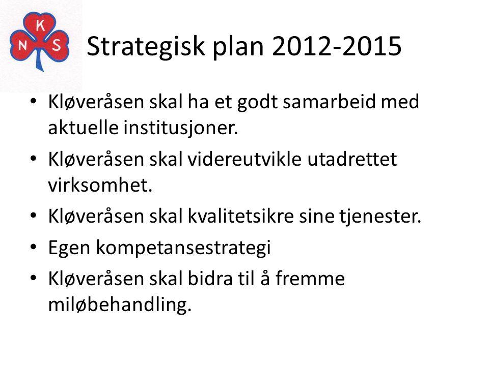Strategisk plan 2012-2015 Kløveråsen skal ha et godt samarbeid med aktuelle institusjoner. Kløveråsen skal videreutvikle utadrettet virksomhet.