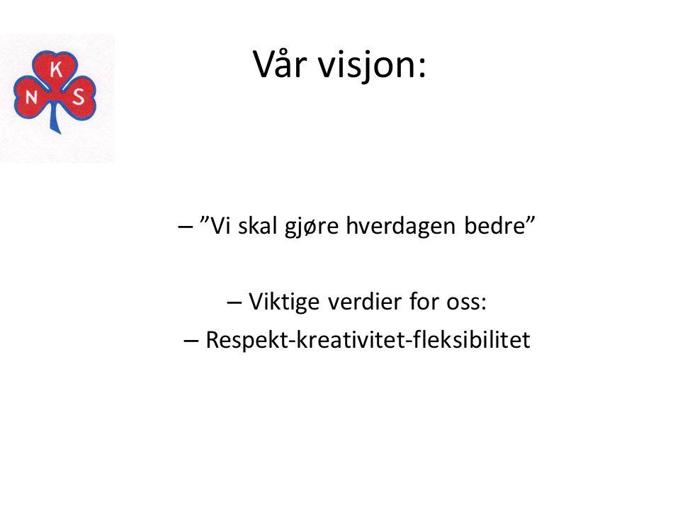 Vår visjon: Vi skal gjøre hverdagen bedre Viktige verdier for oss: