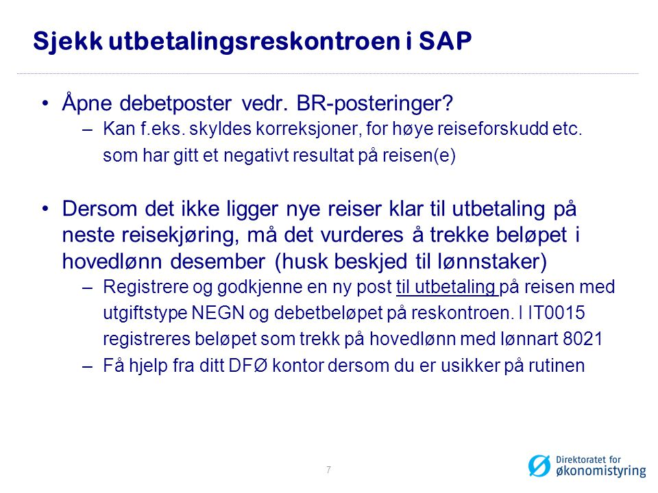Sjekk utbetalingsreskontroen i SAP