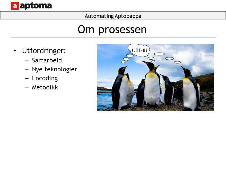 Om prosessen Utfordringer: Samarbeid Nye teknologier Encoding Metodikk