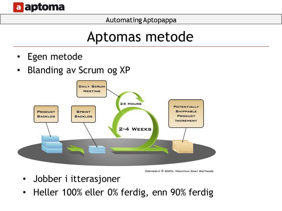 Aptomas metode Egen metode Blanding av Scrum og XP