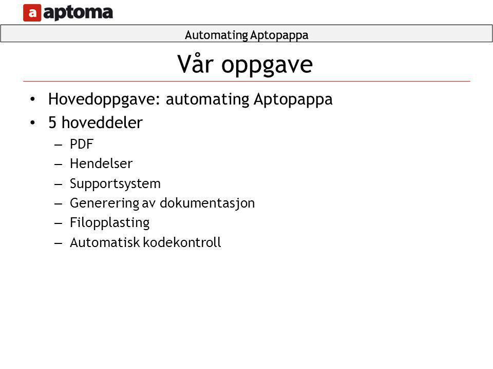 Vår oppgave Hovedoppgave: automating Aptopappa 5 hoveddeler PDF