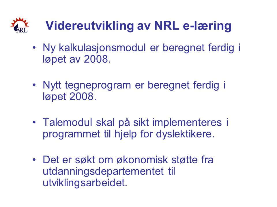 Videreutvikling av NRL e-læring