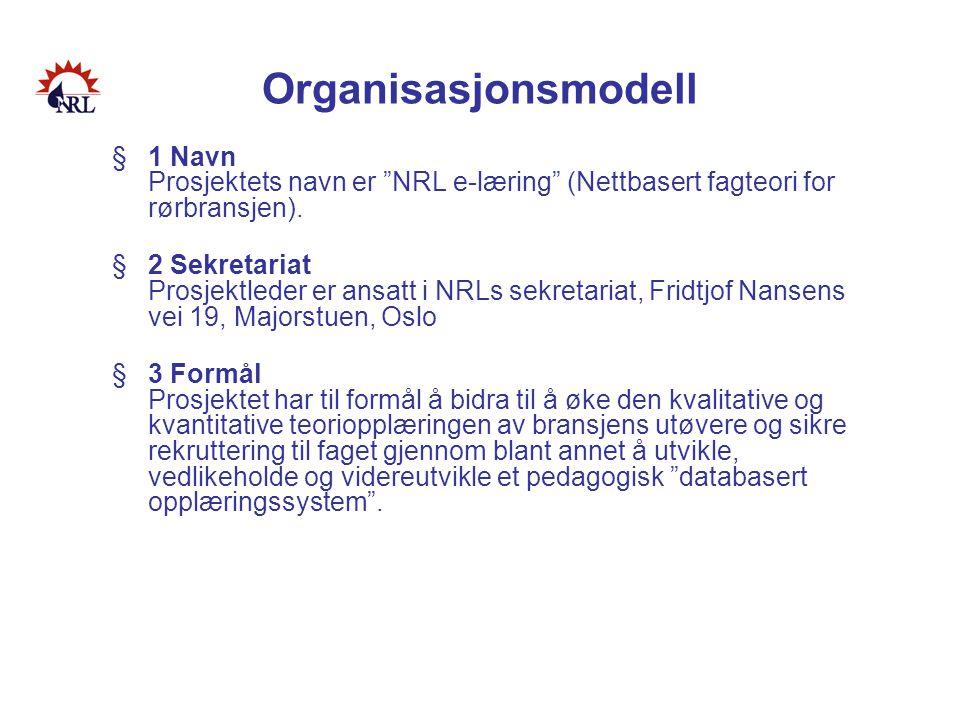 Organisasjonsmodell 1 Navn Prosjektets navn er NRL e-læring (Nettbasert fagteori for rørbransjen).