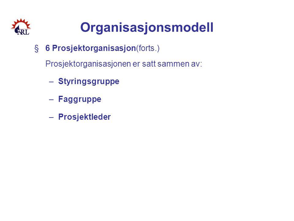Organisasjonsmodell 6 Prosjektorganisasjon(forts.) Prosjektorganisasjonen er satt sammen av: Styringsgruppe.