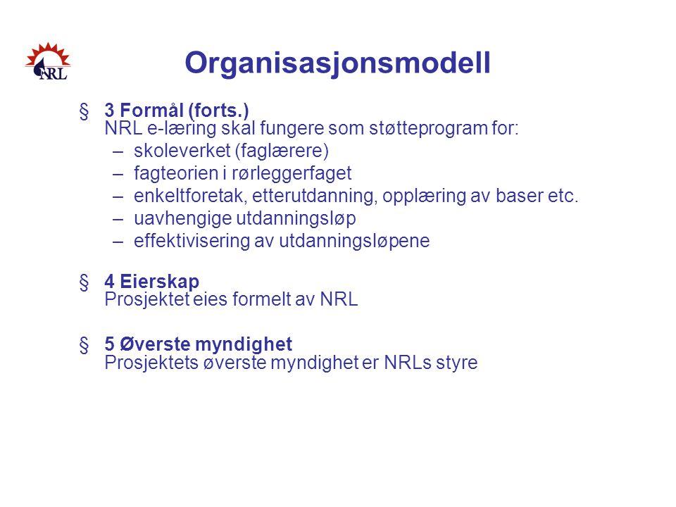Organisasjonsmodell 3 Formål (forts.) NRL e-læring skal fungere som støtteprogram for: skoleverket (faglærere)