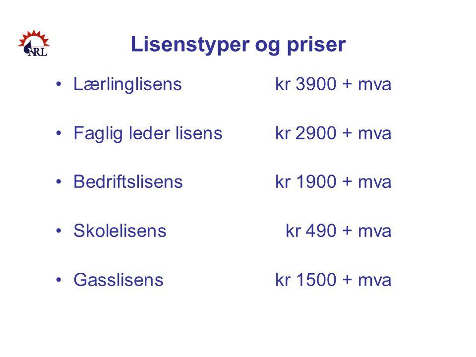 Lisenstyper og priser Lærlinglisens kr 3900 + mva