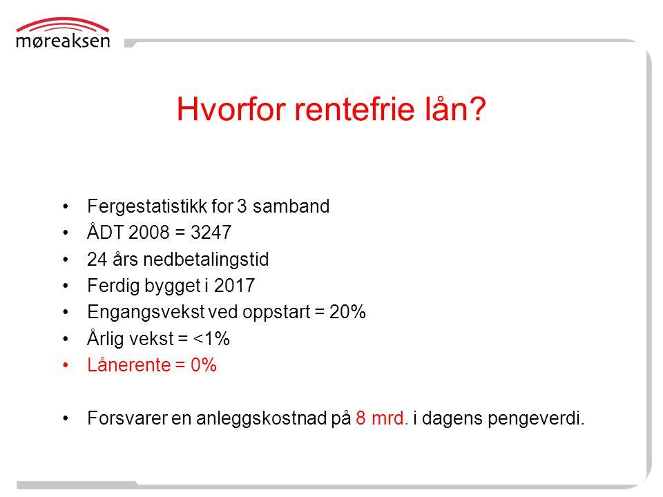 Hvorfor rentefrie lån Fergestatistikk for 3 samband ÅDT 2008 = 3247