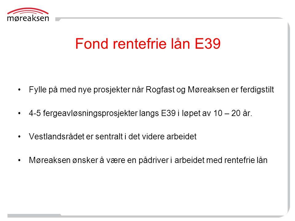 Fond rentefrie lån E39 Fylle på med nye prosjekter når Rogfast og Møreaksen er ferdigstilt.