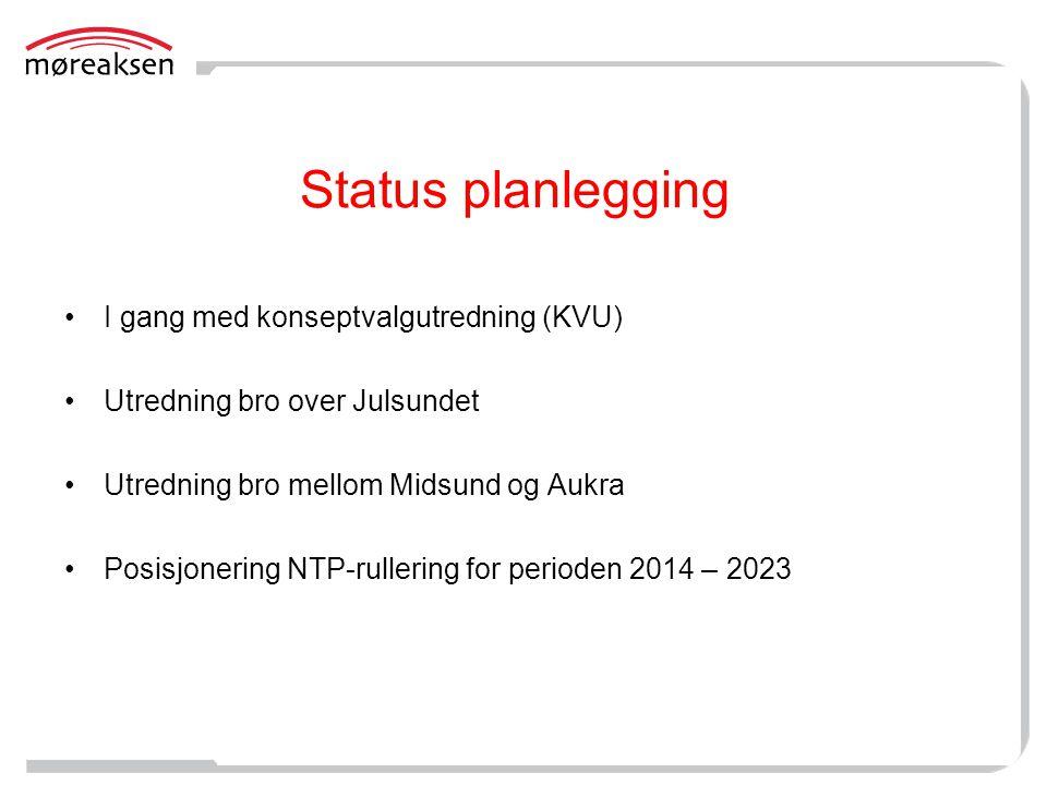 Status planlegging I gang med konseptvalgutredning (KVU)