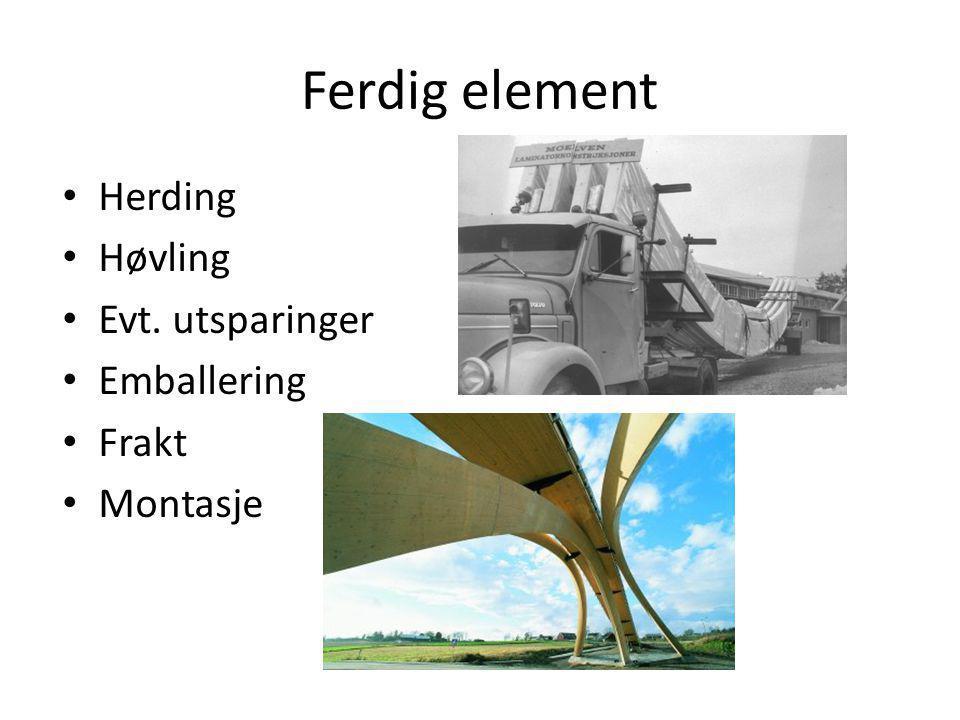 Ferdig element Herding Høvling Evt. utsparinger Emballering Frakt