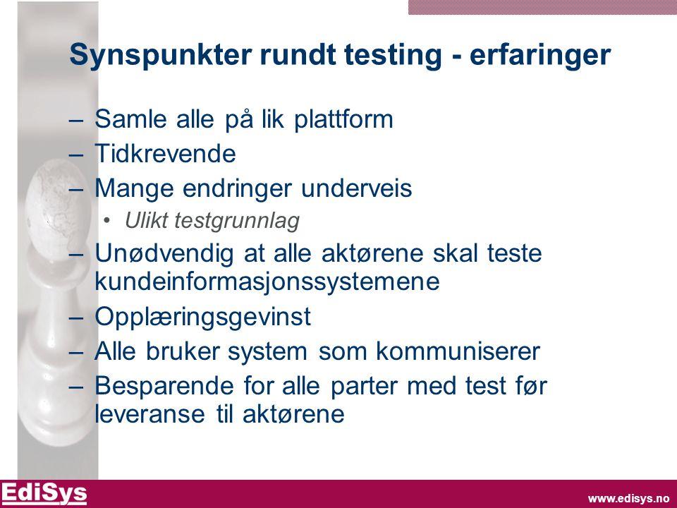 Synspunkter rundt testing - erfaringer