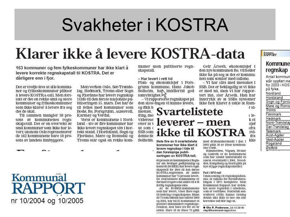 Svakheter i KOSTRA Kommunal Rapport nr 10/2004 og 10/2005