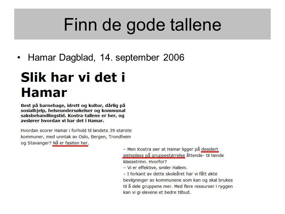 Finn de gode tallene Hamar Dagblad, 14. september 2006