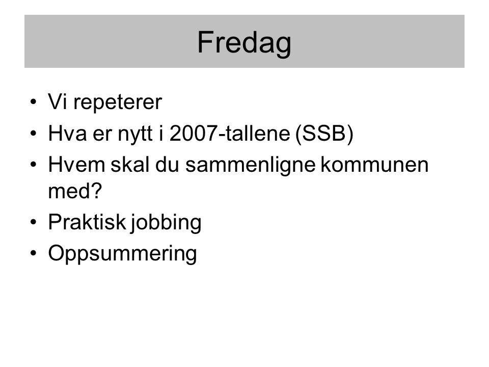 Fredag Vi repeterer Hva er nytt i 2007-tallene (SSB)