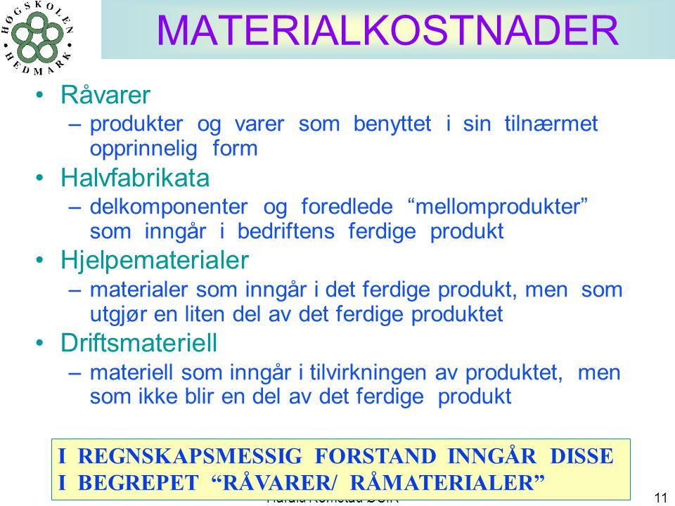 MATERIALKOSTNADER Råvarer Halvfabrikata Hjelpematerialer