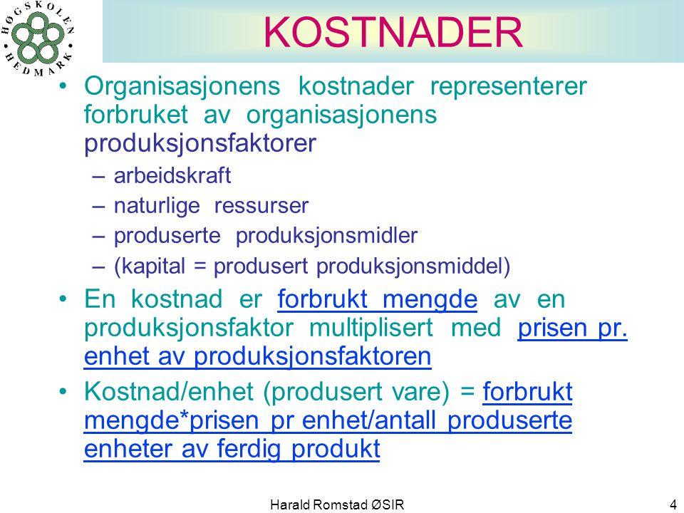 KOSTNADER Organisasjonens kostnader representerer forbruket av organisasjonens produksjonsfaktorer.