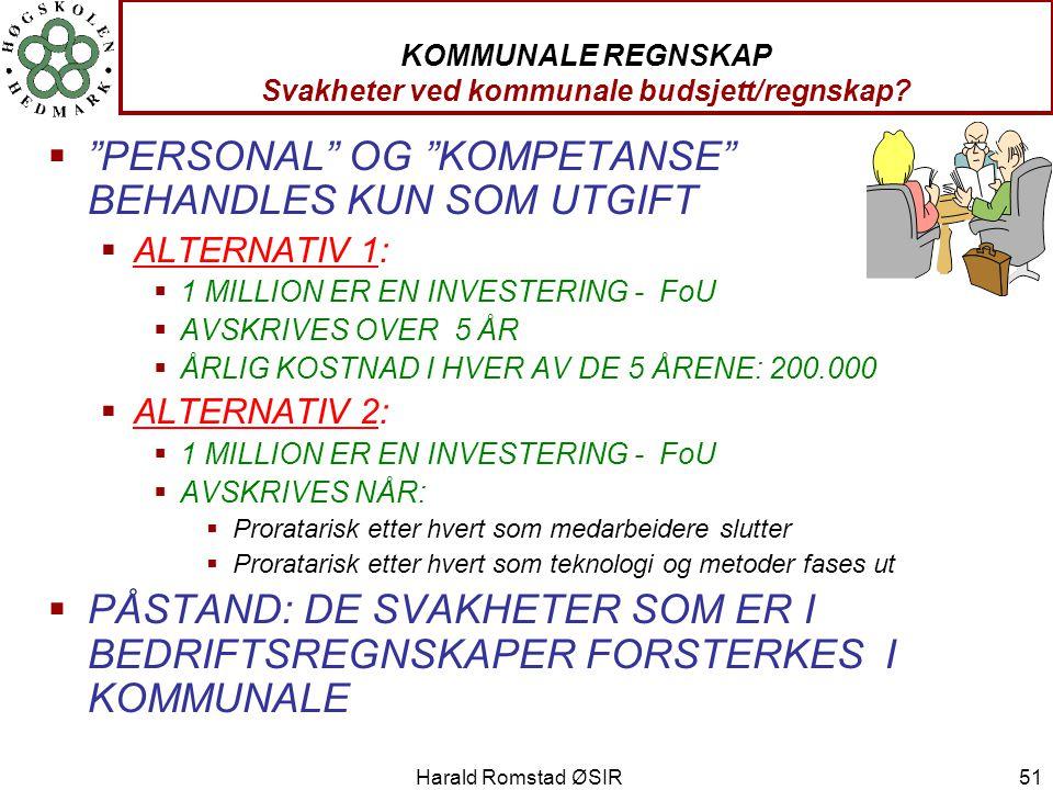 KOMMUNALE REGNSKAP Svakheter ved kommunale budsjett/regnskap