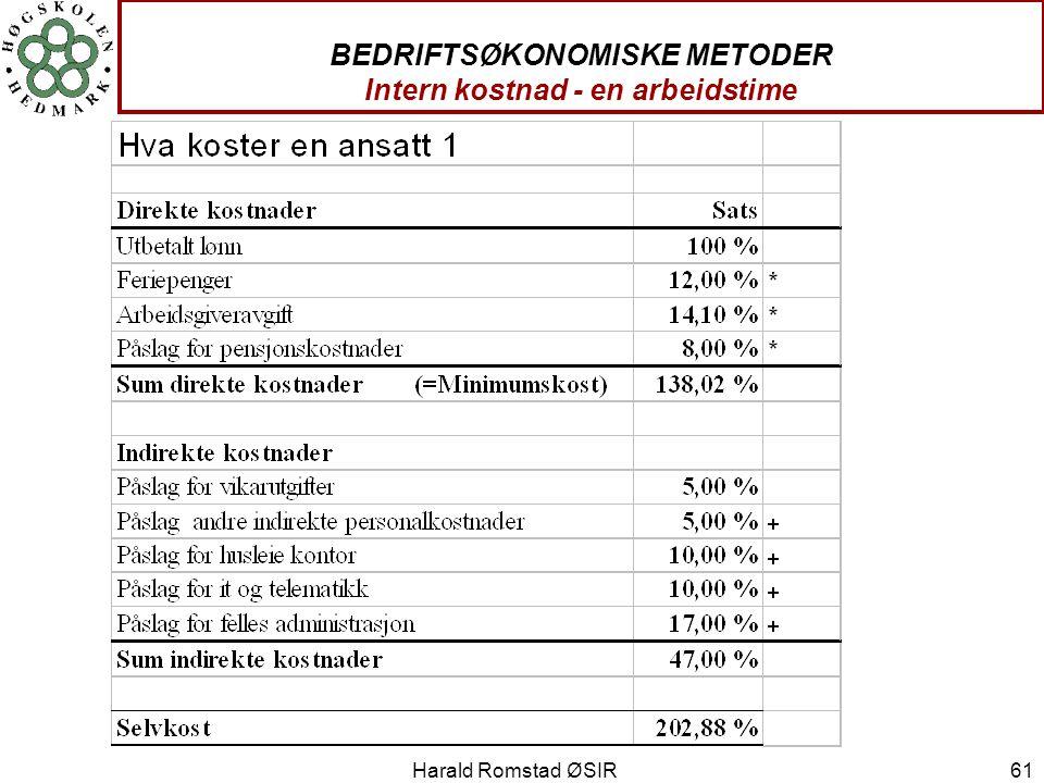 BEDRIFTSØKONOMISKE METODER Intern kostnad - en arbeidstime