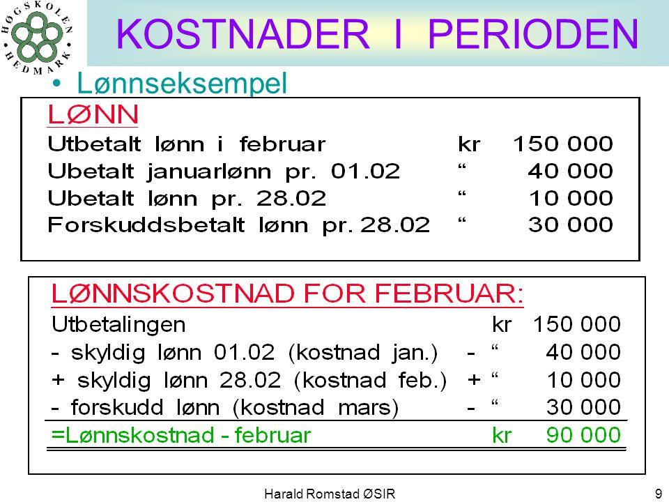 KOSTNADER I PERIODEN Lønnseksempel Harald Romstad ØSIR