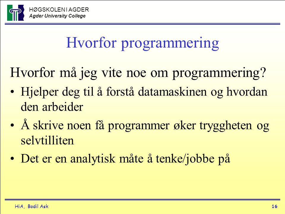 Hvorfor programmering